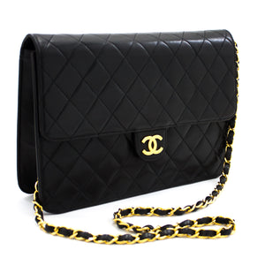 CHANEL Chain Shoulder Bag Clutch Black Quilted Flap Lambskin Purse t73