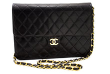 CHANEL Shoulder Bag ჩანთა Clutch შავი Quilted Flap Lambskin ჩანთა t73-hannari-shop