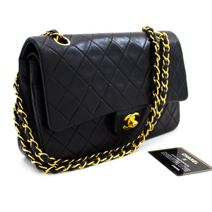 "CHANEL 2.55 Double Flap 10"" Chain Shoulder Bag Black Quilted Lamb t70"