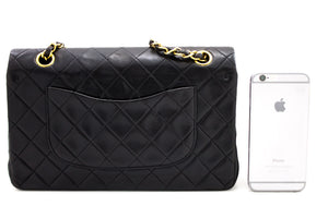"CHANEL 2.55 Double Flap 10 ""Chain Shoulder Bag Μαύρο καπιτονέ αρνί t70-hannari-shop"