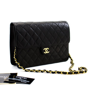 CHANEL Chain Shoulder Bag Clutch Black Quilted Flap Lambskin a36 hannari-shop
