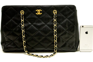 CHANEL Caviar Large Chain Shoulder Bag Black Quilted Leather Gold k96