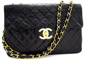 "CHANEL Jumbo 13"" Maxi 2.55 Flap Chain Shoulder Bag Black Lambskin t71-hannari-shop"