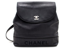 CHANEL Caviar Chain Backpack Bag Black Flap Leather Silver Hw s84-hannari-shop