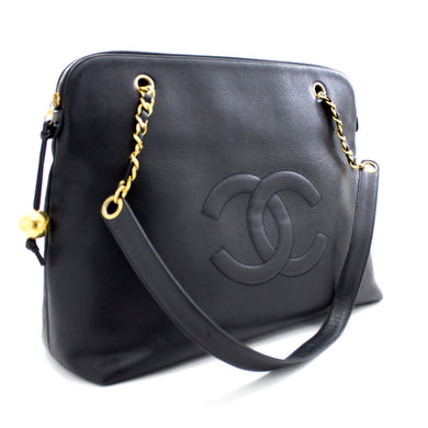 CHANEL Caviar Jumbo Large Chain Shoulder Bag Black Gold Zipper s29