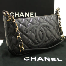 CHANEL Caviar Mini Small Chain One Shoulder Bag Black Quilted Zip k17