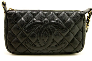 CHANEL Caviar Mini Small Chain One Shoulder Bag Black Quilted Zip k17-Chanel-hannari-shop
