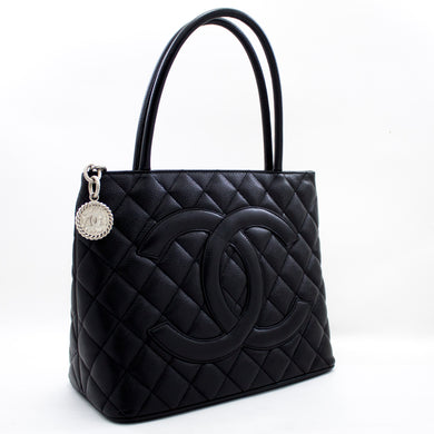 CHANEL Silver Medallion Caviar Shoulder Bag Shopping Tote Black s75