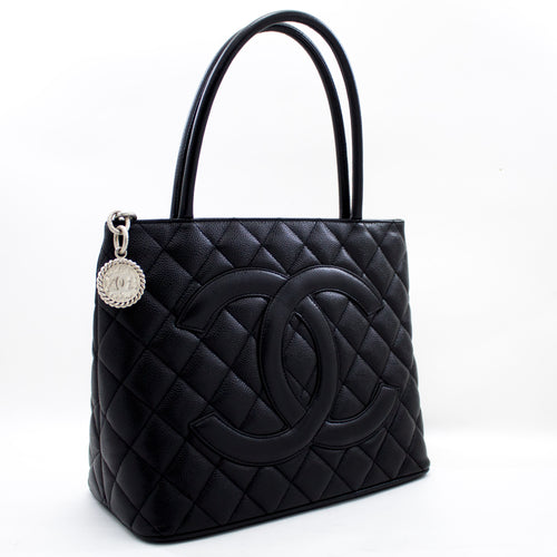 CHANEL Silver Medallion Caviar Shoulder Bag Shopping Tote Black s75-hannari-shop