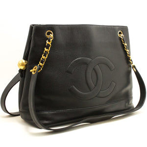 CHANEL Caviar Large Chain Shoulder Bag Black Leather Gold Zipper L13