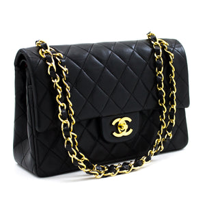 CHANEL 2.55 Double Flap Small Chain Shoulder Bag Black Quilted t74