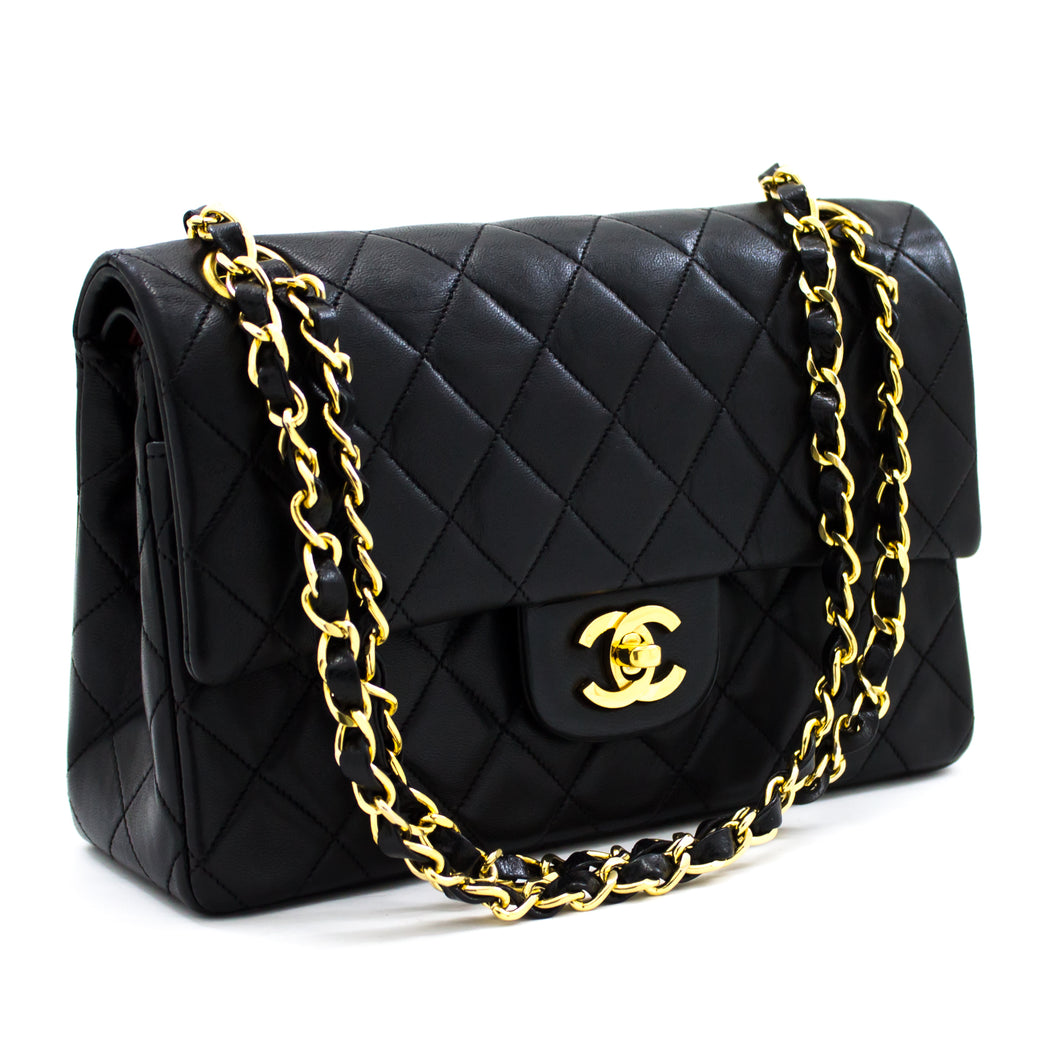 CHANEL 2.55 Double Flap Small Chain Shoulder Bag Black Quilted t74-hannari-shop