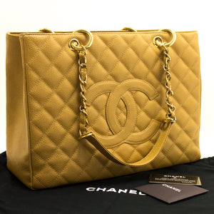 "CHANEL Caviar GST 13"" Grand Shopping Tote Chain Shoulder Bag Beige L08"