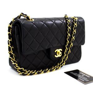 "CHANEL 2.55 Flap 9 ""Chain Shoulder Bag Black Black Quilted Lamb t78-hannari-shop"