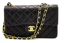 "CHANEL 2.55 Double Flap 9 ""Chain Shoulder Bag Μαύρο καπιτονέ αρνί t78-hannari-shop"