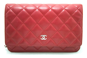 CHANEL Lambskin Wallet On Chain WOC Red Shoulder Bag Crossbody k78-Chanel-hannari-shop