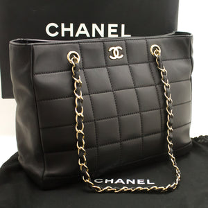 CHANEL Chocolate Bar Large Chain Shoulder Bag Black Quilted Lamb L43