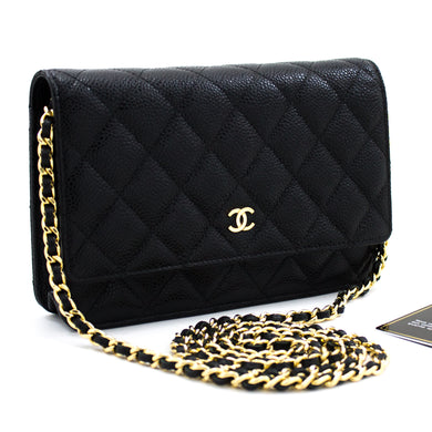 CHANEL Caviar Wallet On Chain WOC Black Shoulder Bag Crossbody t77