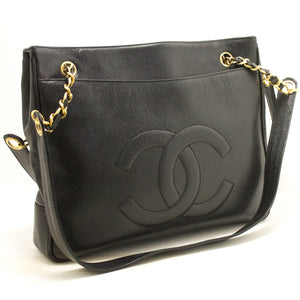 CHANEL Caviar Large Chain Shoulder Bag Black CC Leather Gold L07 hannari-shop