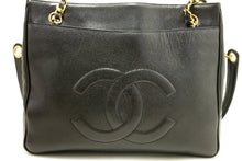 CHANEL Caviar Large Chain Shoulder Bag Black CC Leather Gold L07-Chanel-hannari-shop