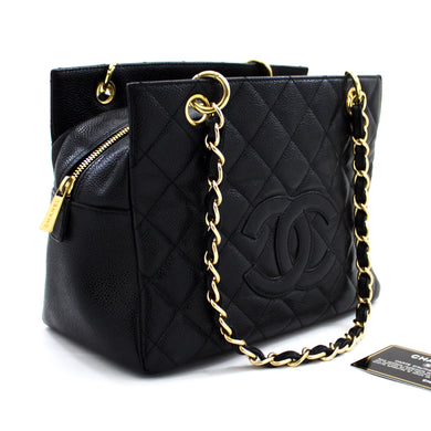 CHANEL Caviar Chain Shoulder Bag Shopping Tote Black Quilted t76