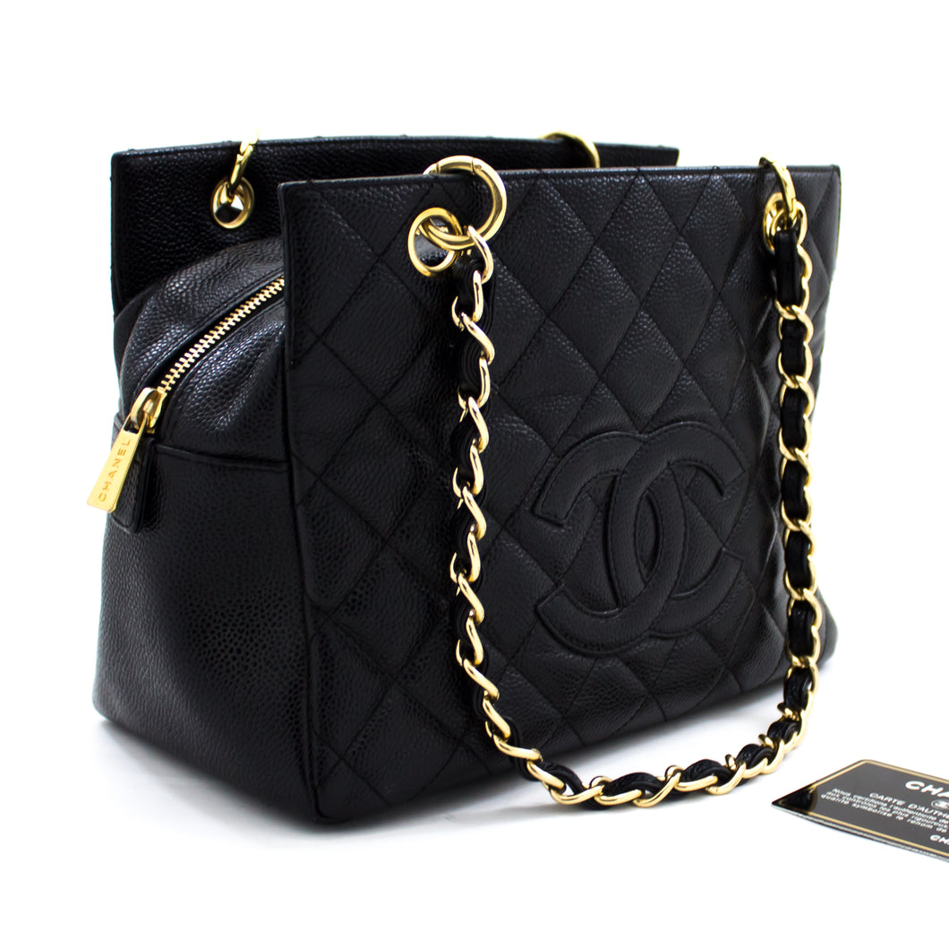 CHANEL Caviar Chain Shoulder Bag Shopping Tote Black Quilted t76-hannari-shop