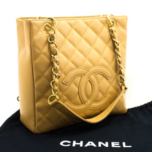 CHANEL Caviar Chain Shoulder Bag Shopping Tote Beige Quilted k29