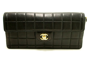 CHANEL Chocolate Bar Gold Chain Shoulder Bag Clutch Black Quilted L80