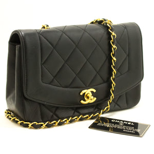 CHANEL Diana Flap Chain Shoulder Bag Crossbody Black Quilted Lamb L81