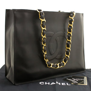 CHANEL Jumbo Large Big Chain Shoulder Bag Black Lambskin Leather k28-Chanel-hannari-shop