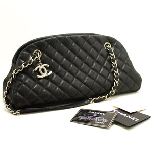 CHANEL Caviar Bowling Chain Shoulder Bag Black Quilted Leather SV k27