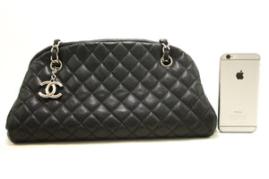 CHANEL Caviar Bowling Chain Shoulder Bag Black Quilted Leather SV k27-Chanel-hannari-shop