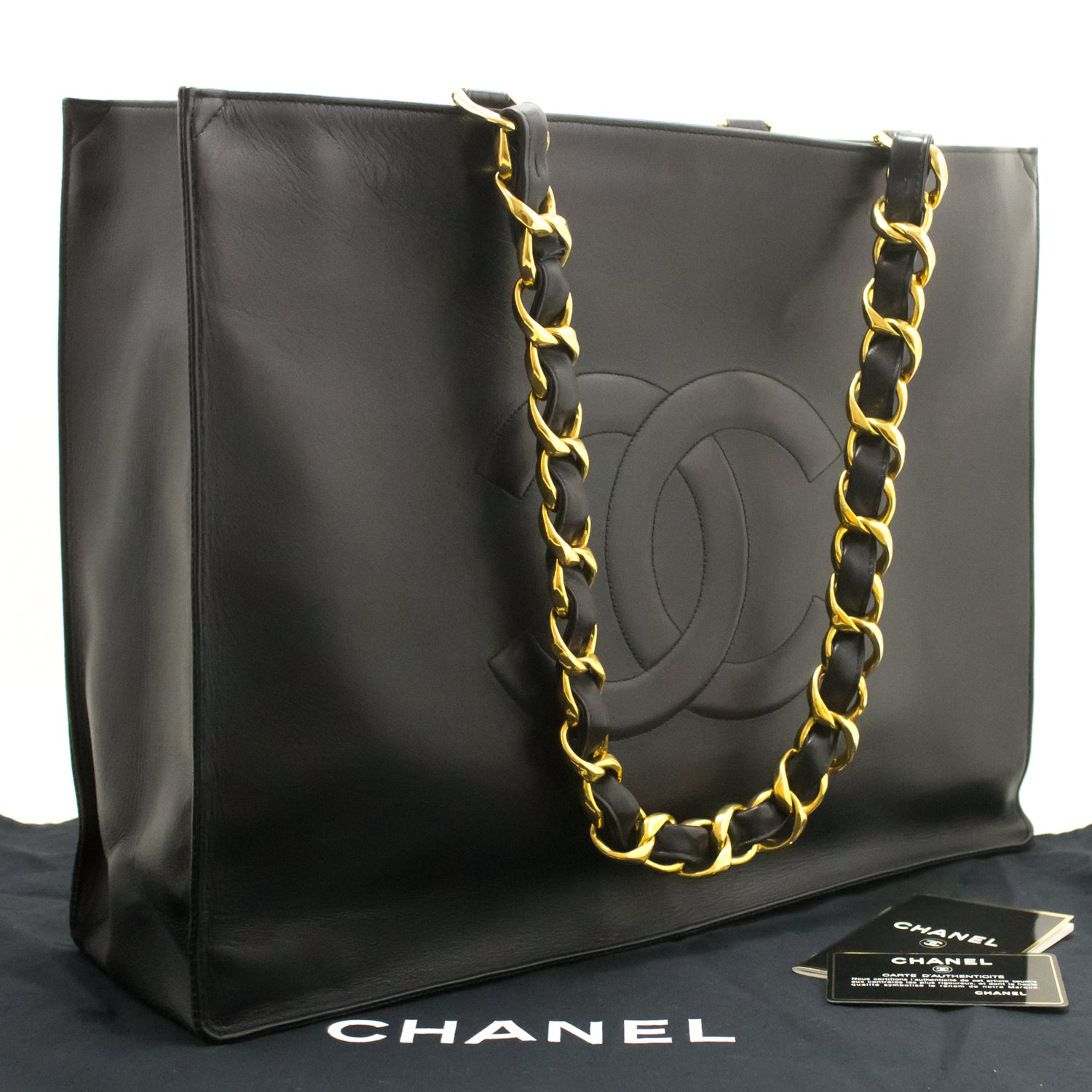 0ee1f94fc9eaf8 ... CHANEL Jumbo Large Big Chain Shoulder Bag Black Lambskin Leather L03- Chanel-hannari- ...