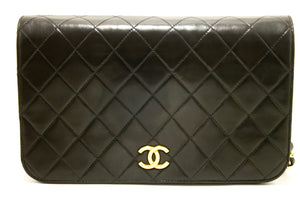 CHANEL Chain Shoulder Bag Clutch Black Quilted Flap Lambskin k66-Chanel-hannari-shop