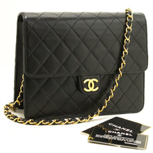 CHANEL Small Chain Shoulder Bag Clutch Black Quilted Flap Lambskin k91