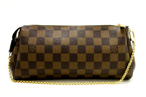 Louis Vuitton Eva Ebene Damier Canvas Shoulder Bag Handbag Gold L82-Louis Vuitton-hannari-shop