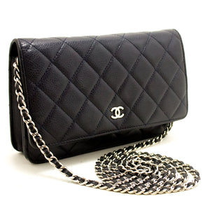 CHANEL Caviar Wallet On Chain WOC Navy Shoulder Bag Crossbody L87