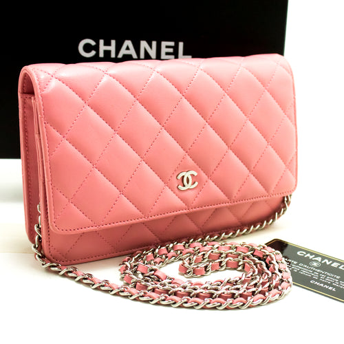 CHANEL Pink Wallet On Chain WOC Shoulder Bag Crossbody Clutch Lamb L90