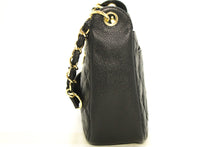 CHANEL Caviar Chain One Shoulder Bag Black Quilted Leather Zipper k77-Chanel-hannari-shop
