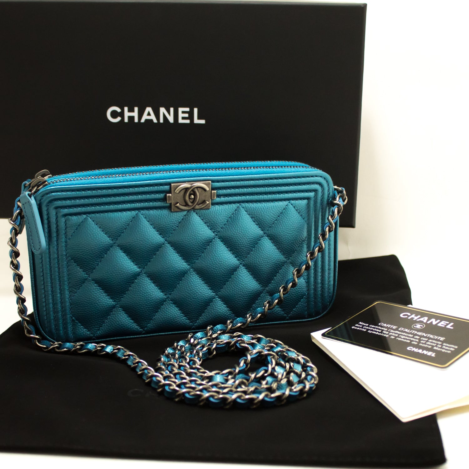 ffa0d9135a57 ... CHANEL Boy Metallic Blue Caviar Wallet On Chain WOC Clutch Bag L01- Chanel-hannari ...