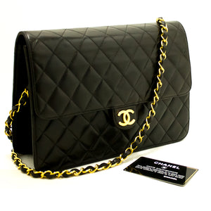 CHANEL Chain Shoulder Bag Clutch Black Quilted Flap Lambskin L96-Chanel-hannari-shop