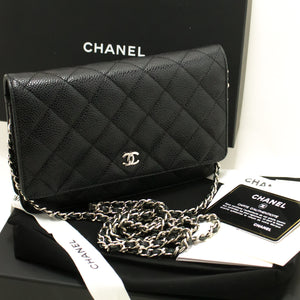 CHANEL Caviar Wallet On Chain WOC Black Shoulder Bag Crossbody L94-Chanel-hannari-shop