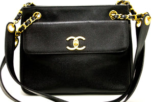 CHANEL Caviar Chain Shoulder Bag Black Leather Gold Hw CC Pocket L95