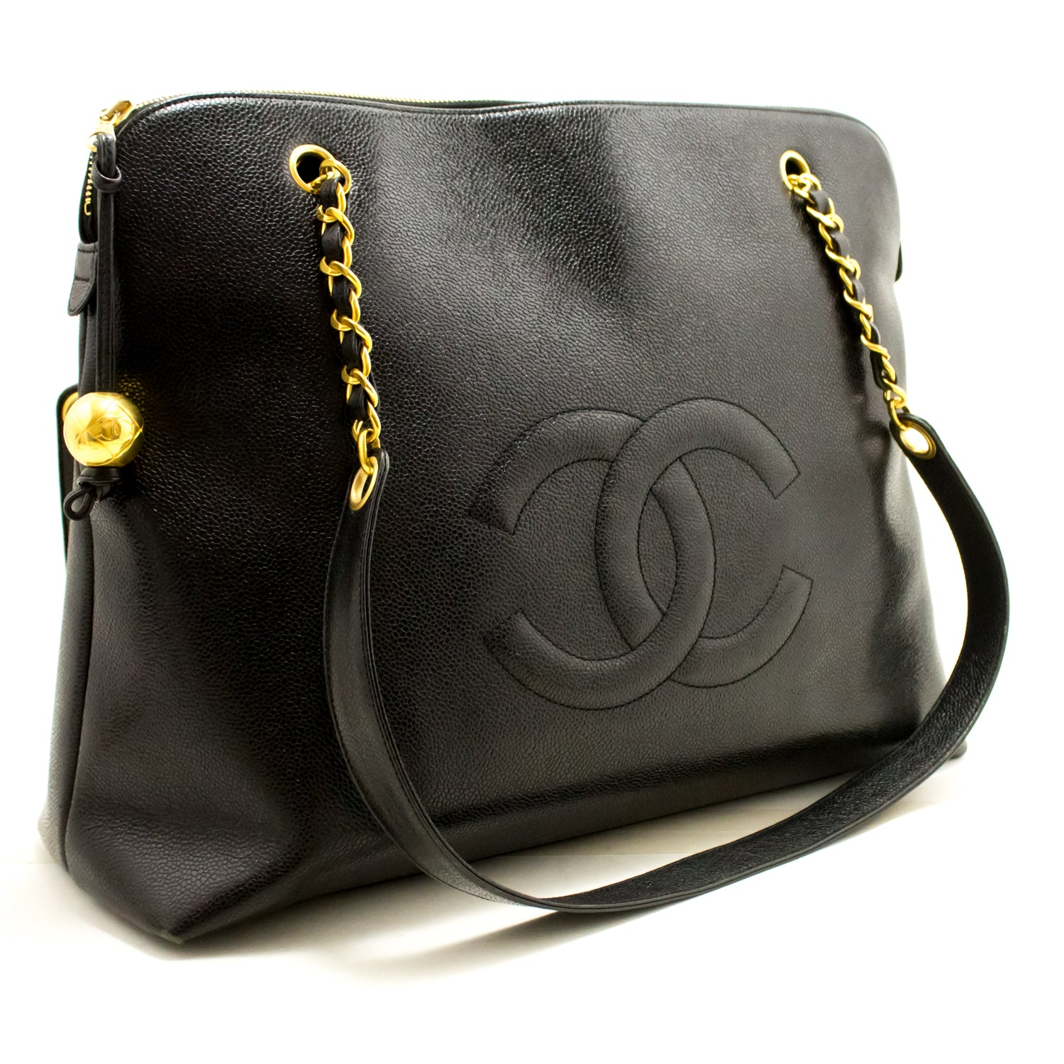 62871cb6f3a2f6 ... CHANEL Caviar Jumbo Large Chain Shoulder Bag Black Gold Zip L93-Chanel-hannari-  ...