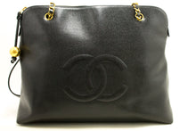 CHANEL Caviar Jumbo Large Chain Shoulder Bag Black Gold Zip L93-Chanel-hannari-shop