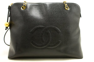 CHANEL Caviar Jumbo Large Chain Shoulder Bag Black Gold Zip L93