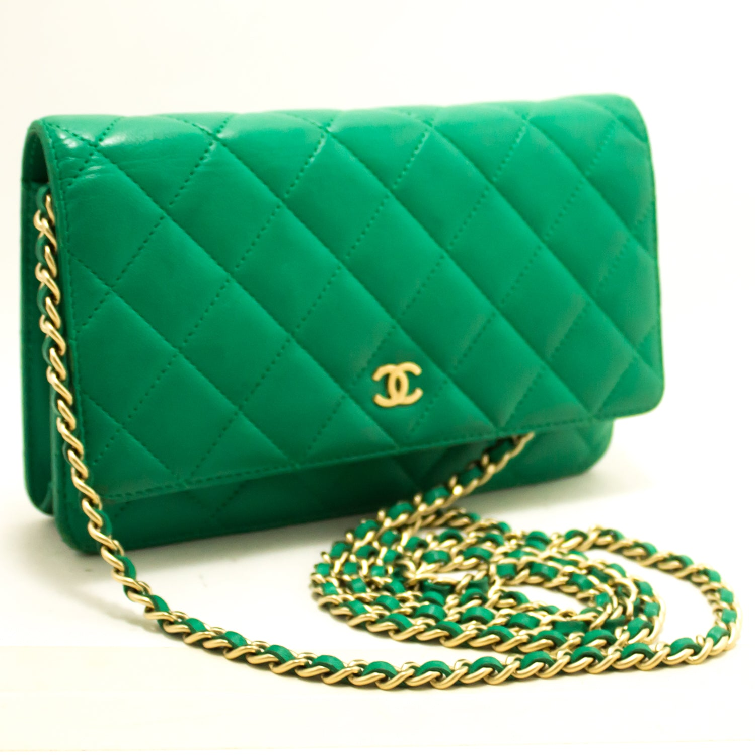 09678a9493ff6e ... CHANEL Green Wallet On Chain WOC Shoulder Bag Crossbody Clutch L97- Chanel-hannari- ...