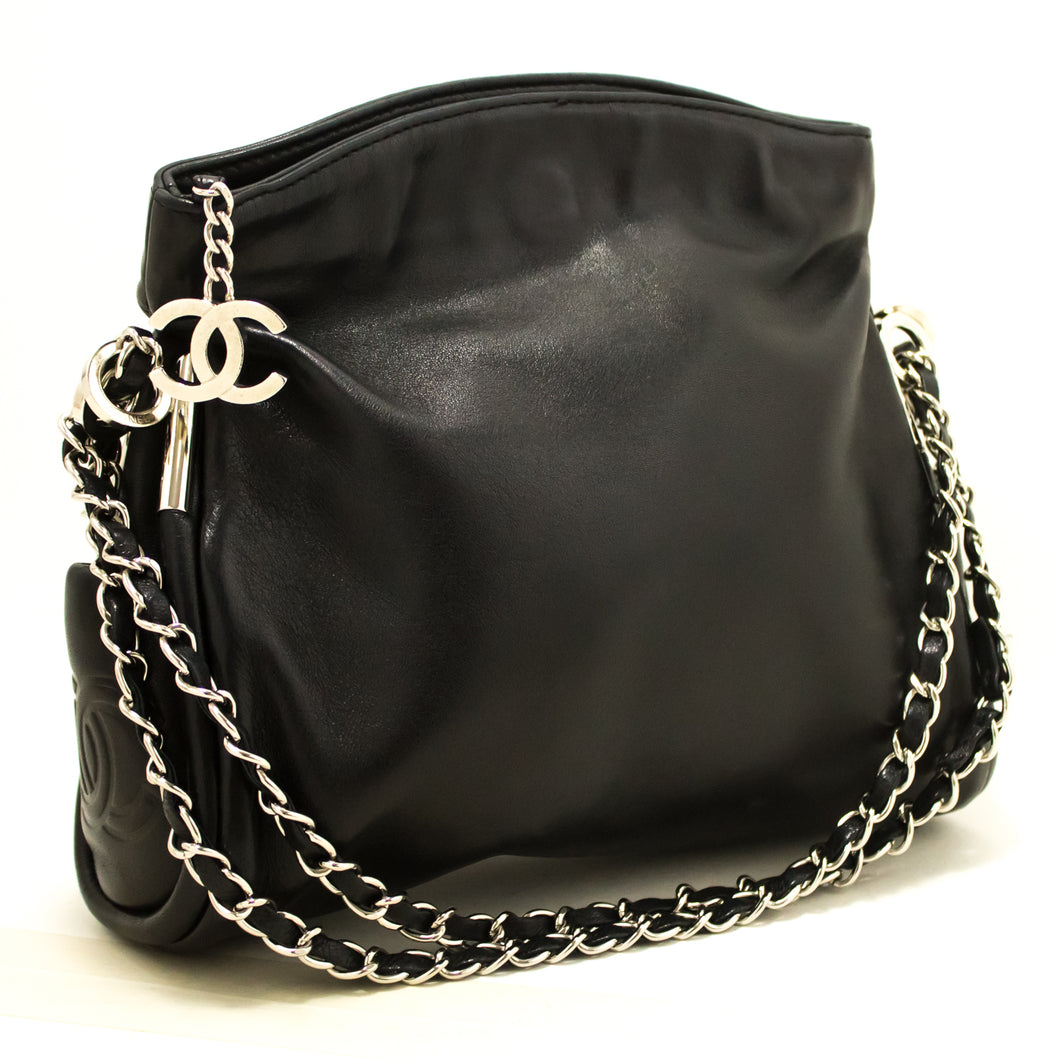 CHANEL Chain Shoulder Bag Black Lambskin Leather Silver Hw Purse m62
