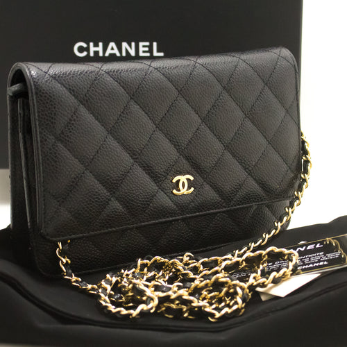 CHANEL Caviar Wallet On Chain WOC Black Shoulder Bag Crossbody m57