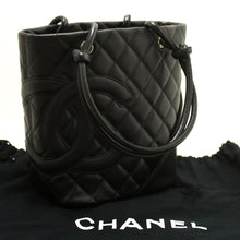 CHANEL Cambon Tote Small Shoulder Bag Black Quilted Calfskin SV m76